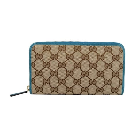 Gucci Women's Beige Original GG Canvas with Leather Trim Zip Around Wallet 363423 8616 - One Size