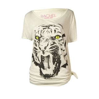 Rachel Roy Women's Tiger Graphic Scoop Neck Top - Antique White - m