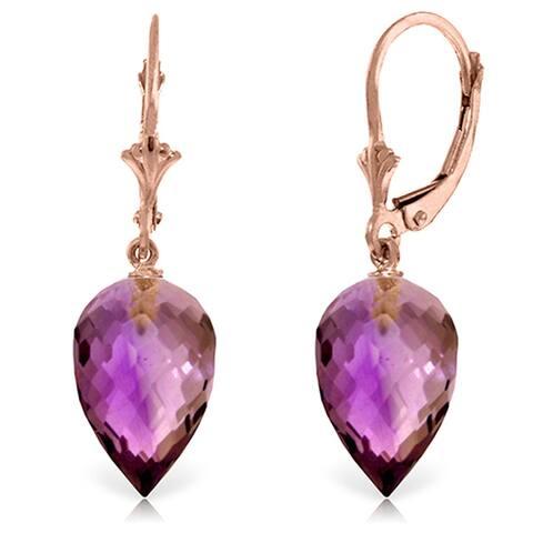 19 Carat 14K Solid Gold Drop Briolette Amethyst Gemstone Earrings