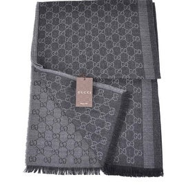 NEW GUCCI 282390 BLACK GREY WOOL SILK GG GUCCISSIMA LOGO SCARF SHAWL