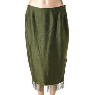 Catherine Malandrino Womens Silk Beaded Pencil Skirt - 8