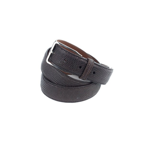 Brunello Cucinelli Brown Leather Embossed Snake-Effect Belt