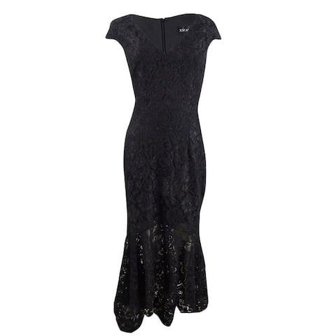 Xscape Women's Allover Lace High-Low Midi Dress - Black