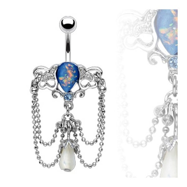 """Chandelier Navel Belly Button Ring with Synthetic Blue Opal - 14GA 3/8"""" Long"""