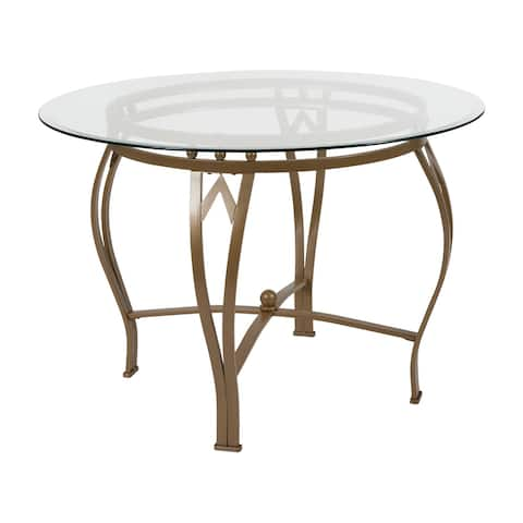 Syracuse 42'' Round Glass Dining Table with Bowed Out Metal Frame
