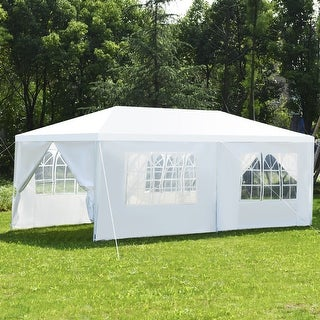 Costway Wedding Tent Canopy Party 10'x20' Heavy Duty Gazebo Cater Event W/Side Walls - White