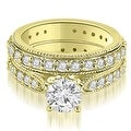 2.50 cttw. 14K Yellow Gold Cathedral Round Cut Eternity Diamond Bridal Set - Thumbnail 0
