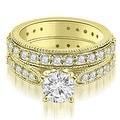 2.50 cttw. 14K Yellow Gold Cathedral Round Cut Eternity Diamond Bridal Set - Thumbnail 0