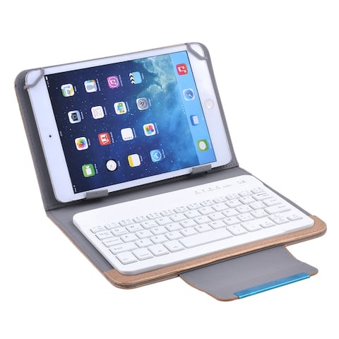 PU Leather Detachable Wireless Keyboard Cover for 7 Inch 8 Inch Tablet - White,Gold Tone