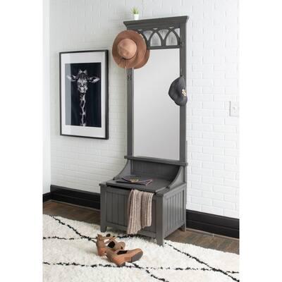 Powell Elliana Entry Way Hall Tree Bench with Mirror