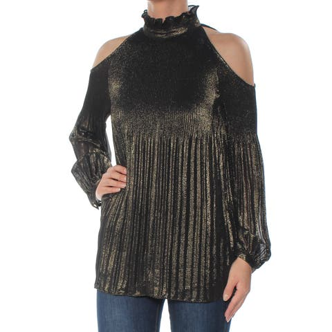Ralph Lauren Womens Gold Cold Shoulder Pleated Long Sleeve Turtle Neck Top Size: XS