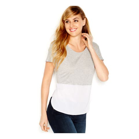 KENSIE Womens Gray Color Block Dolman Sleeve Hi-Lo Top Size S