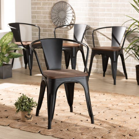 Ryland Modern Industrial Wood and Metal Dining Chair Set (4PC)