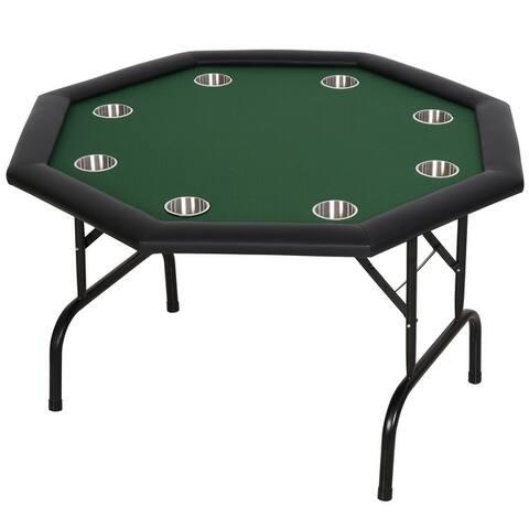 "HomCom 48"" 8 Player Octagonal Foldable Poker Table - Blue/Black"