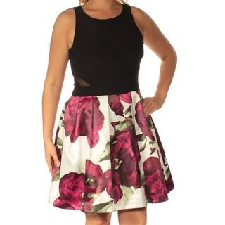 XSCAPE $189 Womens New 1186 Black Floral Sleeveless Fit + Flare Dress 14 B+B