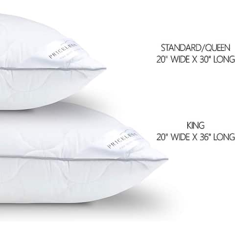 Advanced Quality Bed Pillow 100% Tencel Supports Back Side Stomach Sleepers King (2 Pack) - White