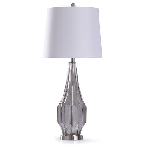 StyleCraft Nelson Silver Geometric Gray Smokey Glass Table Lamp with White Tapered Drum Shade