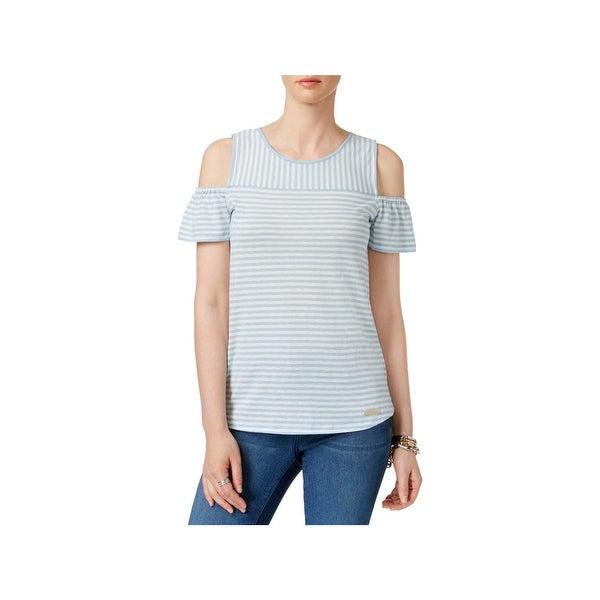 28744cd8d69f5 Shop MICHAEL Michael Kors Womens Pullover Top Striped Cold Shoulder ...
