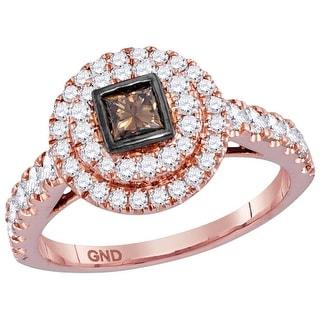 14kt Rose Gold Womens Princess Cognac-brown Diamond Princess Bridal Wedding Engagement Ring 1.00 Cttw - Brown/White