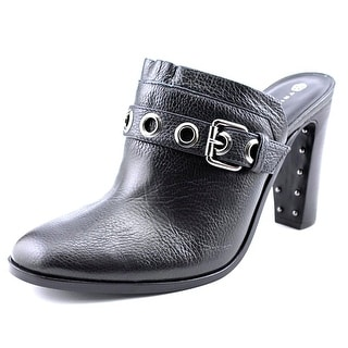 Trina Turk Willoughby Women Round Toe Leather Black Mules