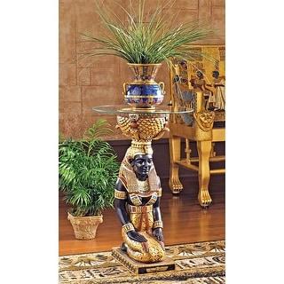 Design Toscano The Egyptian Goddess Eset Glass-Topped Table