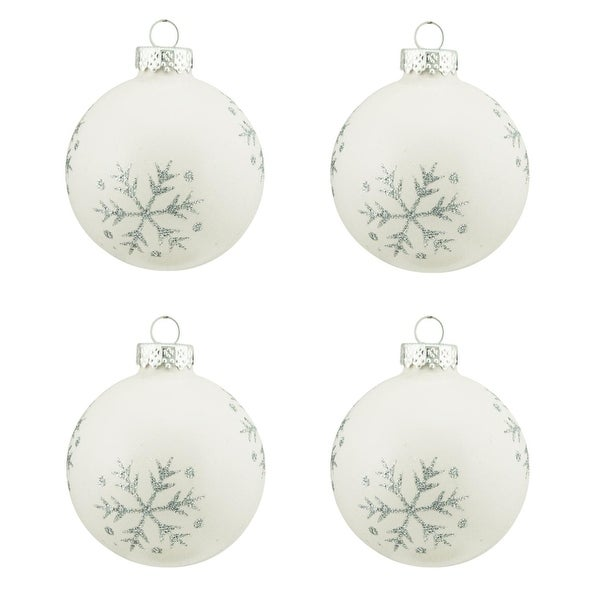 "4ct Pearl White with Silver Snowflake Design Glass Ball Christmas Ornaments 2.5"" (65mm)"