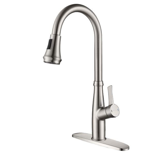 Pull Down Touch Bar Single Handle Kitchen Faucet With Side Spray Overstock 31641561