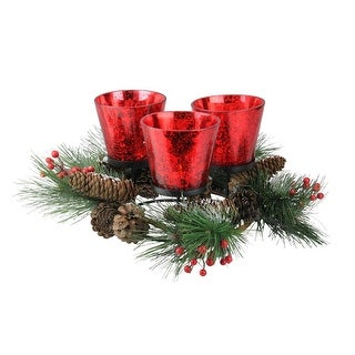 """8"""" Triple Red Metallic Speckled Glass Candle Holder Wreath with Pinecones"""