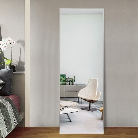 Modern Sleek Style Metal Frame Full-length Mirror Hanging or Leaning