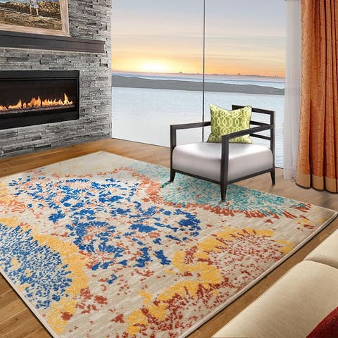 LoomBloom Persian Polypropylene Coral Reef Modern & Contemporary Oriental Area Rug Multi Color