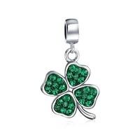 4bf0f322f Celtic Lucky Leaf Clover Green Crystal Shamrock Irish Dangle Bead Charm For  Women 925 Sterling Silver