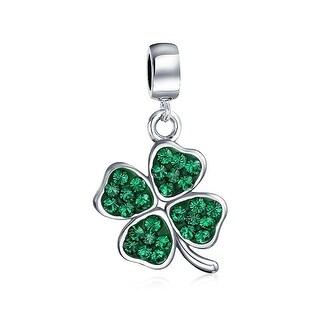 Bling Jewelry 925 Silver Green Crystal Shamrock 4 Leaf Clover Dangle Bead Charm
