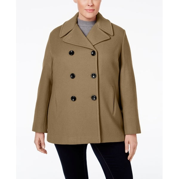 2403dc48780 Shop Calvin Klein Plus Size Double-Breasted Peacoat Camel 3-Extra Large -  Free Shipping On Orders Over  45 - Overstock - 20453561