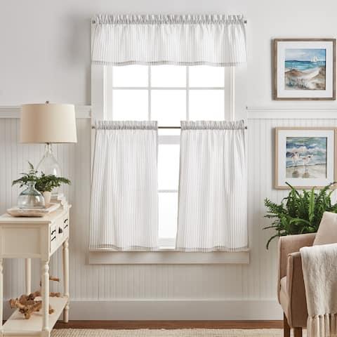 Martha Stewart Ticking Stripe 3-piece Curtain Tier and Valance Set