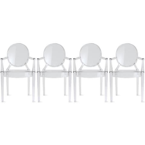 Set of Four (4) Clear - Modern Plastic Dining Armchairs made from Polycarbonate Plastic Arm Chair
