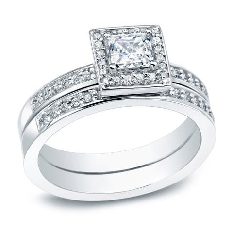 Auriya Platinum 1/2ctw Princess-cut Halo Diamond Engagement Ring Set