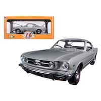 1966 Ford Mustang 2+2 GT Fastback Silver Frost with Black 1/24 Diecast Model Car by M2 Machines