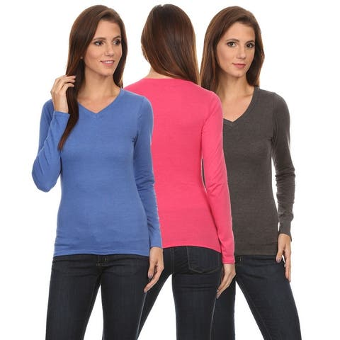 3 Pack Women's Long Sleeve Shirt V-Neck Slim Fit: BERRY/CORAL/NAVY