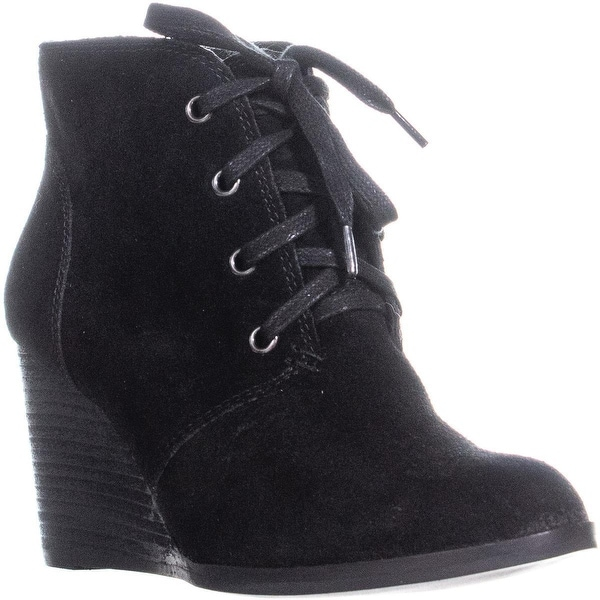e06ccde1e82 Lucky Brand Swayze Wedge Lace Up Ankle Boots, Black - 8 US