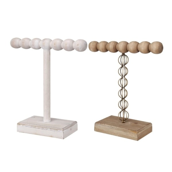 """Set of 2 Brown and White Contemporary Short One-Tier Jewelry Stand 10"""" - N/A"""