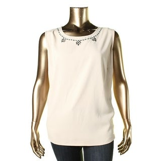 Kasper Womens Plus Embellished Sleeveless Pullover Top