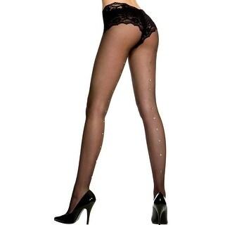 Sheer Pantyhose With Rhinestone Backseam, Sheer Stockings With Rhinestone Backseam