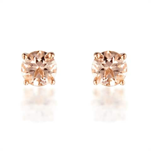 10K Rose Gold Round-Cut Morganite Stud Earrings By Anika and August
