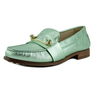 Tod's Cuoio Women Round Toe Leather Green Loafer