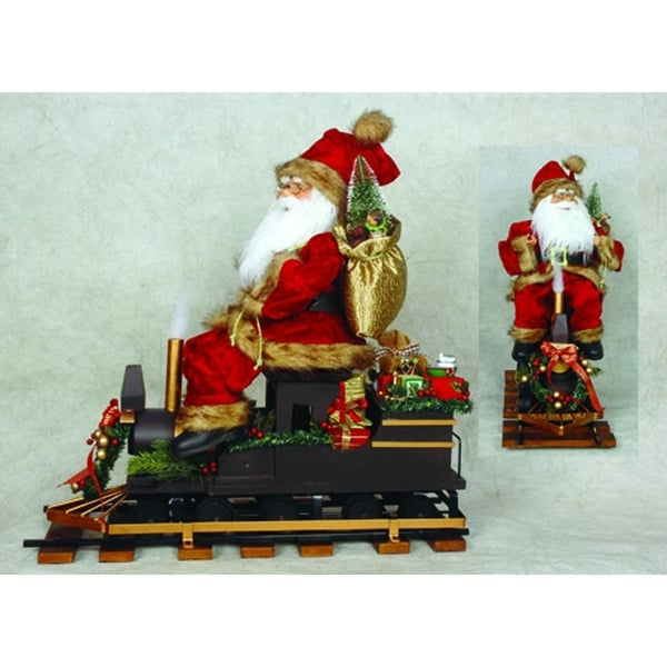 """22"""" North Pole Express Santa Claus on Train Christmas Table Top Decoration"""