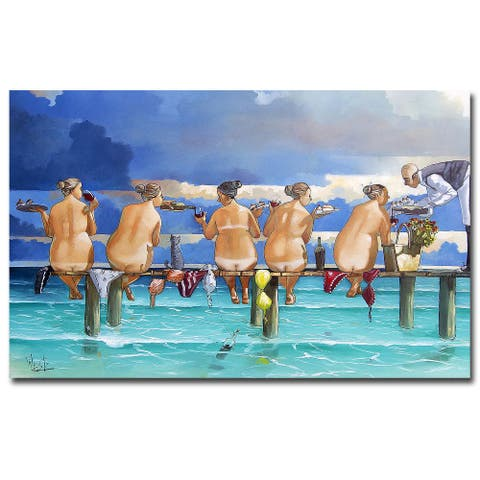 Wine on the Jetty by Ronald West Gallery Wrapped Canvas Giclee Art (15 in x 24 in)