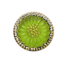 Czech Glass Flat Back Button Cabochons, Sunburst Flower 18.5mm Round, 1 Piece, Lime Green and Gold