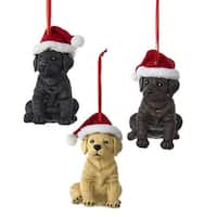 """Club Pack of 12 Black and Brown Labrador Retriever with Christmas Hat Ornaments 3.15"""""""