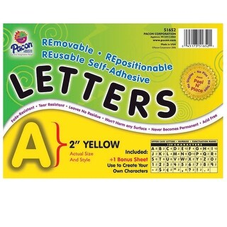 Pacon Self-Adhesive Reusable Letter, 2 in, Yellow, Set of 159