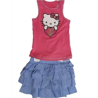 Hello Kitty Little Girls Fuchsia Blue Studded Heart Tiered 2 Pc Skirt Outfit 4-6X (3 options available)